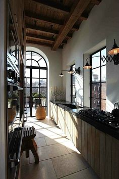 47 Best Galley Kitchen Designs like the lights in this kitchen