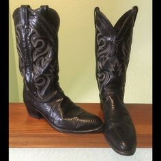 """Dan Post genuine lizard cowboy boots, size 9.5 I have recently married and now need to downsize my boot collection now that I have to share closet space. These exotic genuine lizard black western cowboy boots from Dan Post measure 14"""" from floor to top of shaft, approx. 11.5"""" heel (wall) to toe, and 3.75"""" wide at widest point. They are in great shape with little wear. Dan Post Shoes Ankle Boots & Booties"""