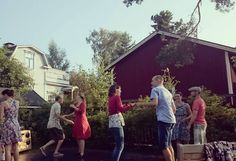 2 of our dancers built a stage to dance on in their garden :) garden swing party