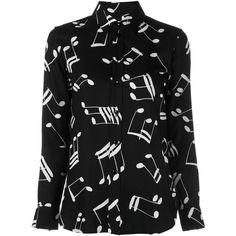 Saint Laurent music note printed shirt ($1,150) ❤ liked on Polyvore featuring tops, black, print top, collar top, all-over print shirts, button front top and viscose shirt