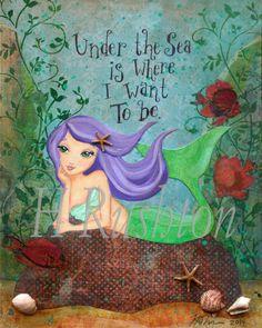 Mermaid Art- Children's Art- Mermaid Decor- Mixed Media Art- Giclee Print Sizes 5x7 or 8x10 by HRushton