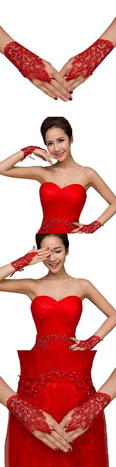 VITORIA'S GIFT The Bride Marriage Dress Wedding Sequin Lace Gloves Wedding Gloves(Short Red 1))