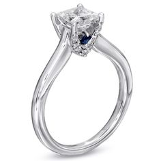 Vera Wang Engagement Ring....want want want. Love the blue sapphire accent!