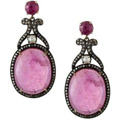 Bavna Composite Ruby & Mixed Diamond Drop Earrings (44 750 UAH) ❤ liked on Polyvore featuring jewelry, earrings, ruby jewelry, fake jewelry, drop earrings, white earrings and post earrings