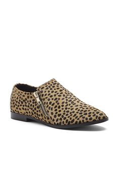 Moto-inspired cheetah print loafers