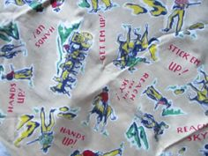 Vintage 40s  50's Fabric Western Print Cotton Fabric  Cowboys Horses  33 x 36  #Unbranded