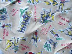 Vintage 40s  50's Fabric Western Print Cotton Fabric  Cowboys Horses  33 x 36  #Unbranded Get Sky, Cowboy Horse, Vintage Fabrics, Printed Cotton, Cowboys, Westerns, Cotton Fabric, Horses, Ebay