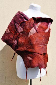 Beautiful shawl Felted scarf silk wool by AleksandrabWiniarska