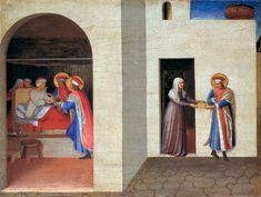 The Healing of Palladia by Saint Cosmas and Saint Damian by @artistangelico #earlyrenaissance