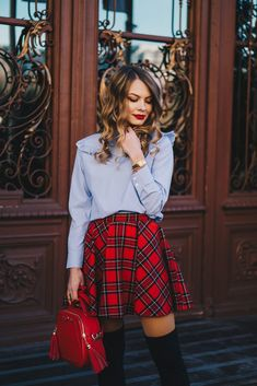 Red plaid skirt and OTK boots - Christmas outfit - Pink WishPink Wish Tartan Skirt Outfit, Red Tartan Skirt, Red Skirt Outfits, Plaid Outfits, Red Skirts, Plaid Skirts, Dress Skirt, Fashion Outfits, Teen Winter Outfits