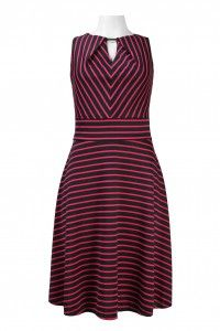 Donna Ricco Sleeveless Keyhole Neckline Stripe Pattern Ponte A-Line Dress