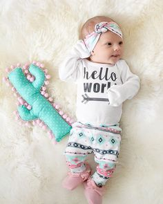 Doll baby Cheri-Lynn in our Pink Mint Aztec Hello world set!  photo cred @jacey_autumn_photography