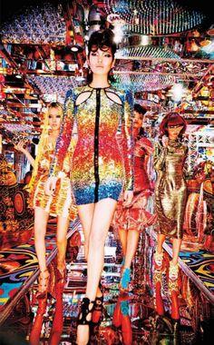 Vogue Japan July 2014: Tokyo Neon Girls Chiharu Okunugi, Risa Nakamura, Hiari Ikeda, Tiffani Cadillac & Shunsuke Okabe by Ellen Von Unwerth