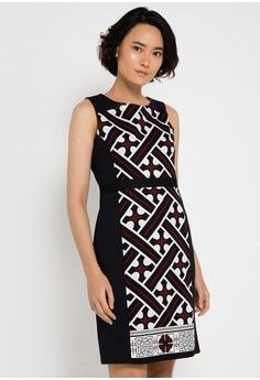 Sleeveless Cotton Print Dress from Bateeq in black_1