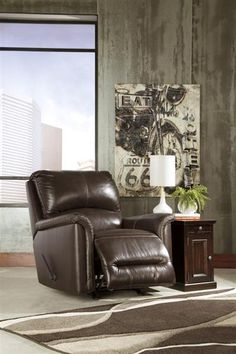 Lacotter Contemporary Chocolate Rocker Recliner