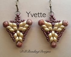 "Yvette Beaded Earrings Pattern With only four different beads, you'll create this beautiful pair of earrings. Quick and easy as usual with easy to follow instructions. The earrings are a little over 1 "" x 1 1/4"" from bottom of earwire. This is a pattern only, not an actual pair of"