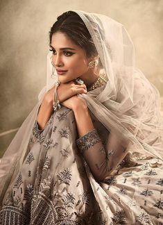 Gray Net Long Anarkali Suit with satin inner Indian Anarkali, Long Anarkali, Anarkali Gown, Saree, Anarkali Suits, Lehenga Choli, Pakistani Bridal, Pakistani Dresses, Indian Dresses