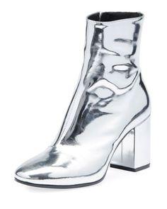 Metallic+Leather+Block-Heel+Bootie+by+Balenciaga+at+Bergdorf+Goodman.