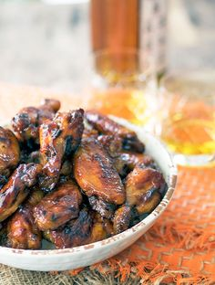 Baked bourbon maple chicken wings - Substitute 1 to 2 tsps. Vanilla extract for 1 TBS bourbon for non-alcoholic.  ;)