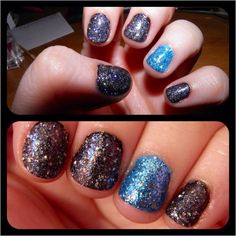 •Sally Hansen Complete Salon Manicure - Midnight in NY •Sally Hansen Gem Crush - Glitz Gal •OPI - No Room For The Blues •Sally Hansen Gem Crush - Blingtastic