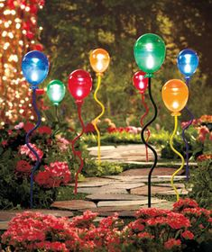 Sets of 2 Solar-Lighted Balloon Stakes - Red & Orange or Blue & Green - 8.95/set of 2
