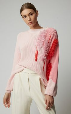 Embroidered Cotton Sweater Embroidered Cotton Sweater by DELPOZO Now Available on Moda Operandi Knitwear Fashion, Knit Fashion, Elisa Cavaletti, Delpozo, Cotton Sweater, Knitting Designs, Look Cool, Pulls, Refashion