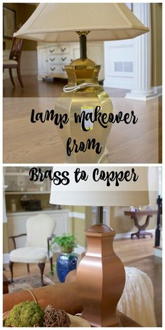 Lamp Makeover from Brass to Copper - 2 Bees in a Pod