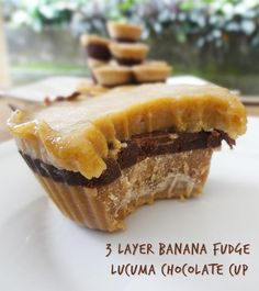 3 Layer Raw Vegan Lucuma Banana Tahini Chocolate Cup Recipe by RawFoodBali