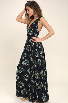 e1bc3402f64bc Remember the Days Navy Blue Floral Print Maxi Dress