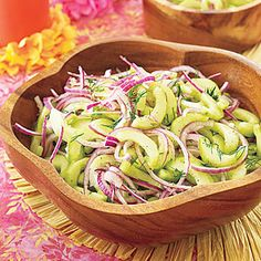 Cucumber Salad    Cost per serving: 60¢    Beat the summer heat with this quick, inexpensive salad. Combine fresh dill, cucumber slices and red onion, then add olive oil, salt and pepper. You'll be done and out the door in just 10 minutes!