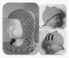 Knights' Hats PDF Crochet Pattern INSTANT DOWNLOAD