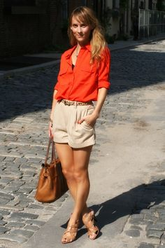 Lucy Laucht in F21 Shirt, Vintage Shorts, Ann Taylor Shoes, Mulberry Bag, Zara Belt, Vintage Necklaces, and Sheyna Necklaces