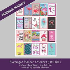 Free Printable Flamingo Planner Stickers from My Life Planners
