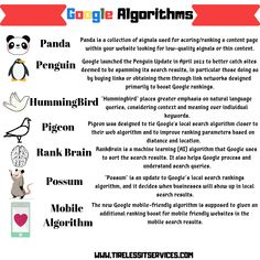 Most important updates. Content Page, Seo Services, Search Engine Optimization, Pigeon, Web Development, Hummingbird, Penguin, Infographics, Ecommerce