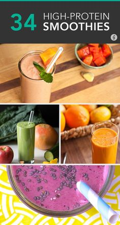 34 Surprisingly Delicious High-Protein Smoothie Recipes #smoothies #protein #recipes