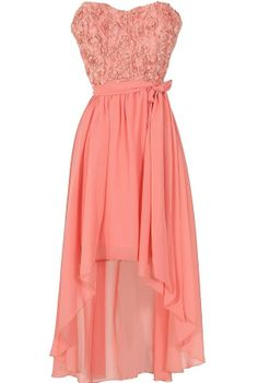 Rosette Romance Designer High Low Dress in Pink  www.lilyboutique.com