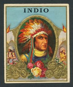 Surly Native American Indian Chief on Original Antique Cigar Box Label Art