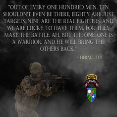 ARMY RANGER POSTER FEATURING ARMY RANGERS AND A MOTIVATIONAL QUOTE.