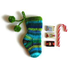 Blue Green Stripes Christmas Stocking Stuffer, Color Wool Pom Pom... (€17) ❤ liked on Polyvore featuring home, home decor, holiday decorations, candy christmas ornaments, knit christmas ornaments, wool christmas stockings, blue ornaments and striped christmas stockings