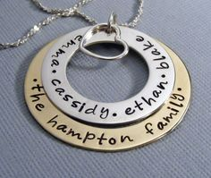 Family name necklace-hand stamped- personalized mothers necklace-childrens names-mommy jewelry  $52