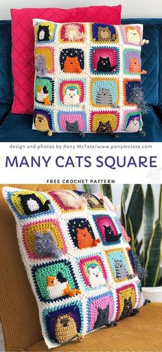 Many Cats Square Free Crochet Pattern Why not introduce fun accessories to your kids' room? Angry shark or cuddly dog will look stylish and add cosiness to the interior. If you are an animal lover yourself, you should consider making thes Chat Crochet, Crochet Mignon, Crochet Motifs, Crochet Squares, Crochet Home, Crochet Gifts, Kids Crochet, Things To Crochet, Granny Squares