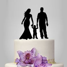 acrylic Wedding Cake Topper Silhouette, funny Wedding Cake Topper, Bride and Groom and little boy topper, happy family wedding cake topper, by walldecal76 on Etsy https://www.etsy.com/listing/225926373/acrylic-wedding-cake-topper-silhouette