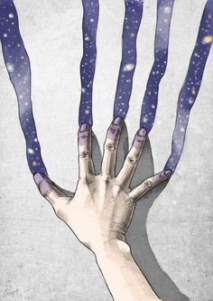 knowing she could paint a world of her very the next color she tried was purple as she dragged her hand down the wall creating little slices of galaxys she understood her powers