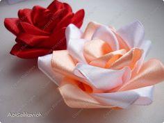 ANOTHER ROSE TUTORIAL Master class Tsumami Kanzashi: Rose Kanzashi Tapes, Threads.  Photo 1
