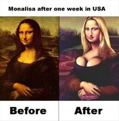 Monalisa before and after pics Funny Art, The Funny, Funny Images, Funny Photos, Mona Lisa Parody, Twisted Humor, Shakira, Best Memes, Hilarious