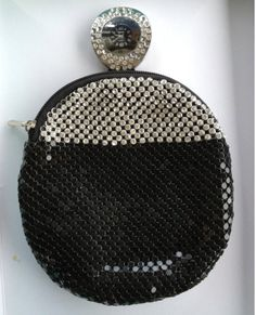 Vintage Black And White Crystal Glo Mesh Evening Bag 25 00 Via Etsy