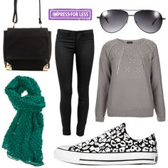 Impress for Less: A cold weather outfit for winter, using Cotton On Indy Cross-Body Bag, Saba Coated Black Jeggings, ASOS Silver Aviators, Topshop Knitted Embellished Ray Jumper, Converse Chuck Taylor All Star Cheetah Shoes from SurfStich and Ivy Ruby Bubble Scarf from Birdsnest. #Stylish365 Stylish Winter Outfits, Casual Outfits, Cute Outfits, Love Fashion, Winter Fashion, Womens Fashion, Comfy Casual, Types Of Fashion Styles, Clothing Ideas