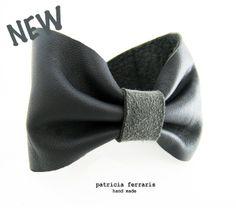Bracelet noeud' pap en cuir gris antracite de patricia ferraris - hand made sur DaWanda.com