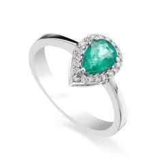 Inel cu smarald si diamante C627