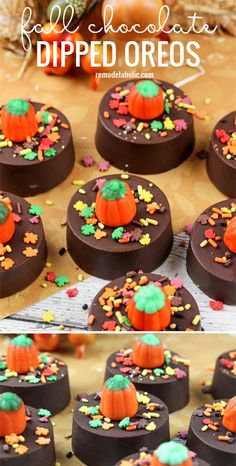chocolate pops The perfect fall or halloween treat! Fall chocolate dipped oreos via Chocolate Dipped Oreos, Chocolate Pops, Chocolate Covered Strawberries, Chocolate Tarts, Halloween Chocolate, Halloween Desserts, Halloween Treats, Halloween Goodies, Halloween Stuff